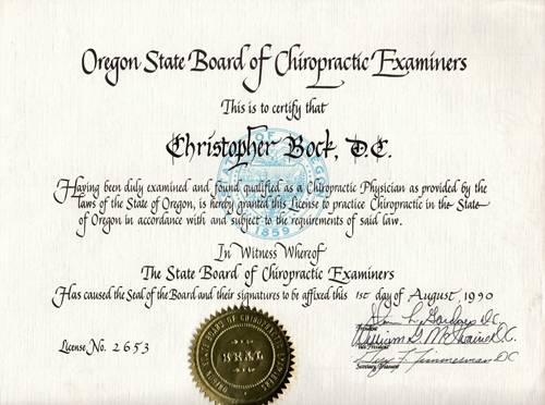 Bock Oregon Chiropractic License